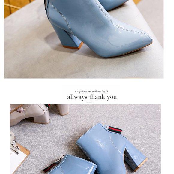 Womens Light Blue High Heel Ankle Boots